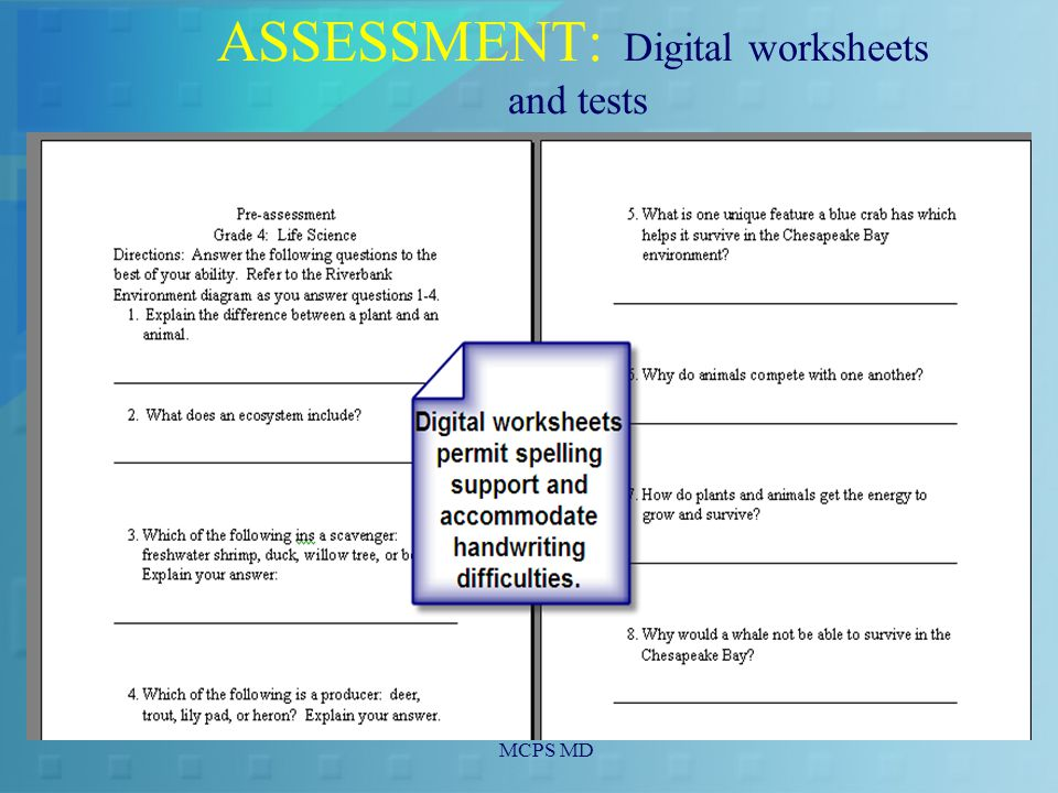 MCPS MD ASSESSMENT: Digital worksheets and tests