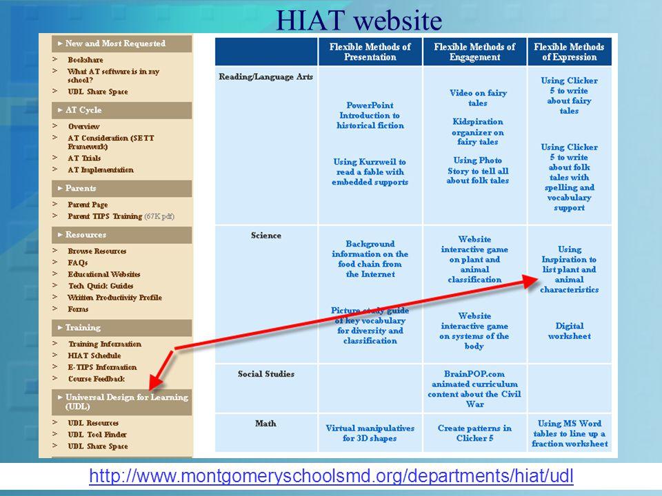 HIAT website http://www.montgomeryschoolsmd.org/departments/hiat/udl