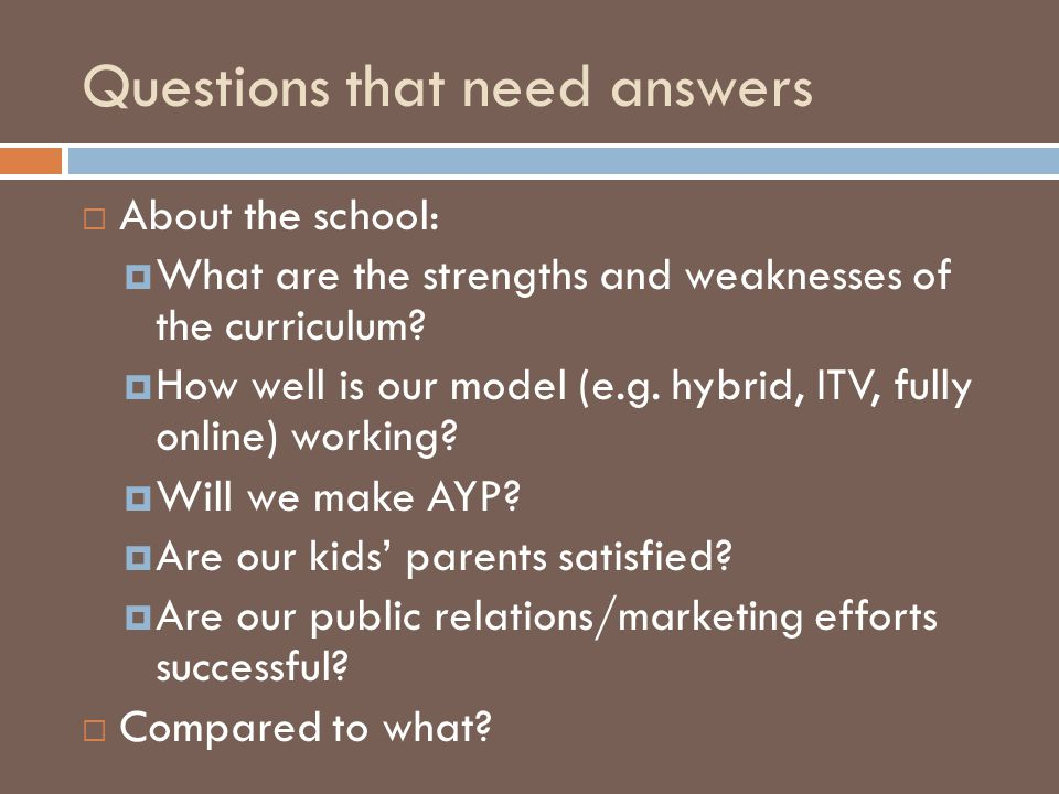 Questions that need answers  About the school:  What are the strengths and weaknesses of the curriculum.