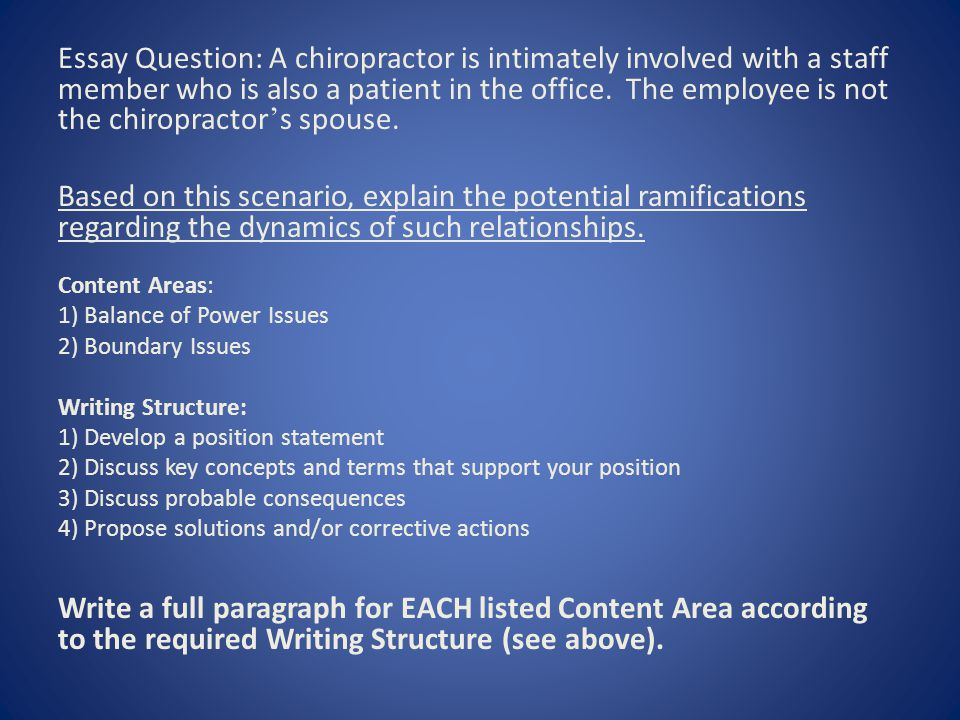 Essay Question: A chiropractor is intimately involved with a staff member who is also a patient in the office.