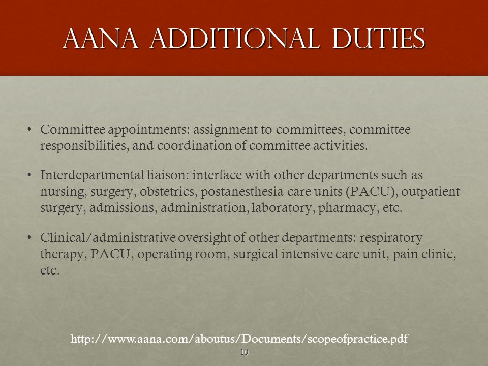 10 AANA ADDITIONAL DUTIES Committee appointments: assignment to committees, committee responsibilities, and coordination of committee activities.