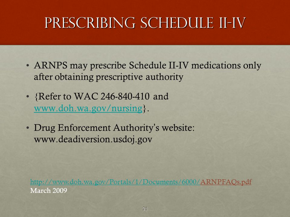 21 Prescribing Schedule II-IV ARNPS may prescribe Schedule II-IV medications only after obtaining prescriptive authority {Refer to WAC 246-840-410 and www.doh.wa.gov/nursing}.