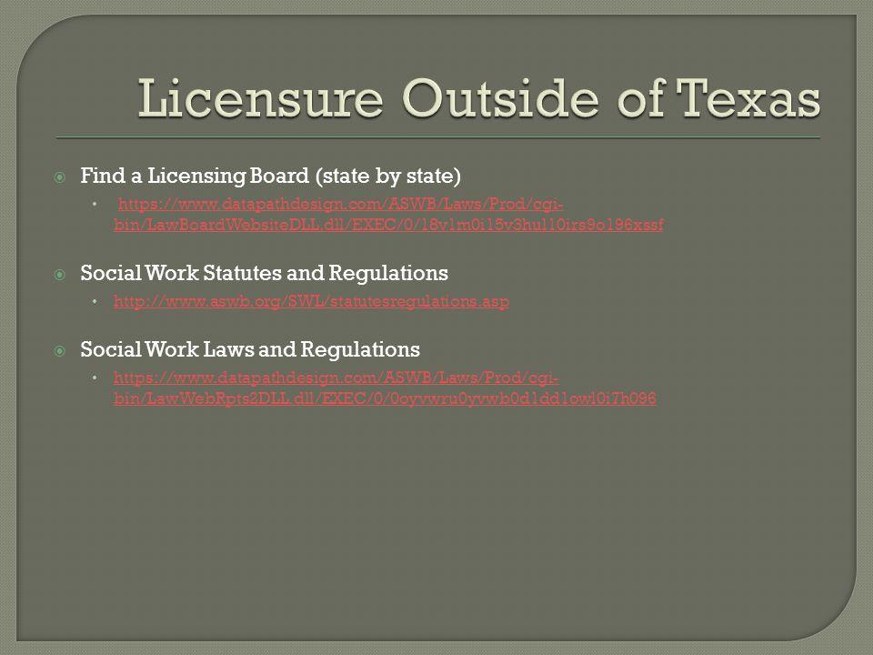  Find a Licensing Board (state by state) https://www.datapathdesign.com/ASWB/Laws/Prod/cgi- bin/LawBoardWebsiteDLL.dll/EXEC/0/18v1m0i15v3hul10irs9o196xssfhttps://www.datapathdesign.com/ASWB/Laws/Prod/cgi- bin/LawBoardWebsiteDLL.dll/EXEC/0/18v1m0i15v3hul10irs9o196xssf  Social Work Statutes and Regulations http://www.aswb.org/SWL/statutesregulations.asp  Social Work Laws and Regulations https://www.datapathdesign.com/ASWB/Laws/Prod/cgi- bin/LawWebRpts2DLL.dll/EXEC/0/0oyvwru0yvwb0d1dd1owl0i7h096 https://www.datapathdesign.com/ASWB/Laws/Prod/cgi- bin/LawWebRpts2DLL.dll/EXEC/0/0oyvwru0yvwb0d1dd1owl0i7h096
