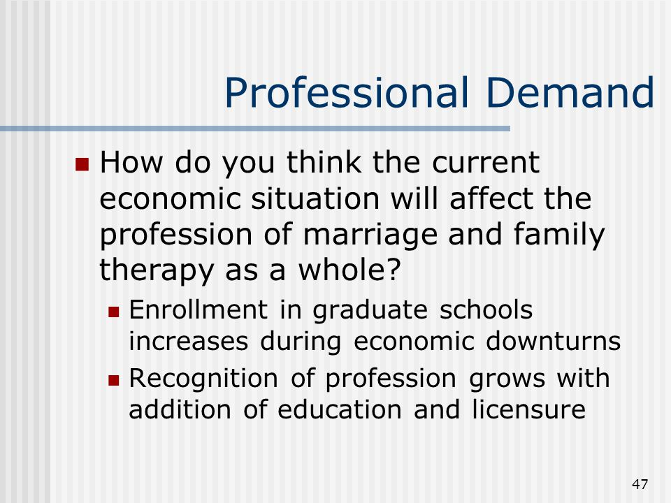 47 Professional Demand How do you think the current economic situation will affect the profession of marriage and family therapy as a whole? Enrollmen