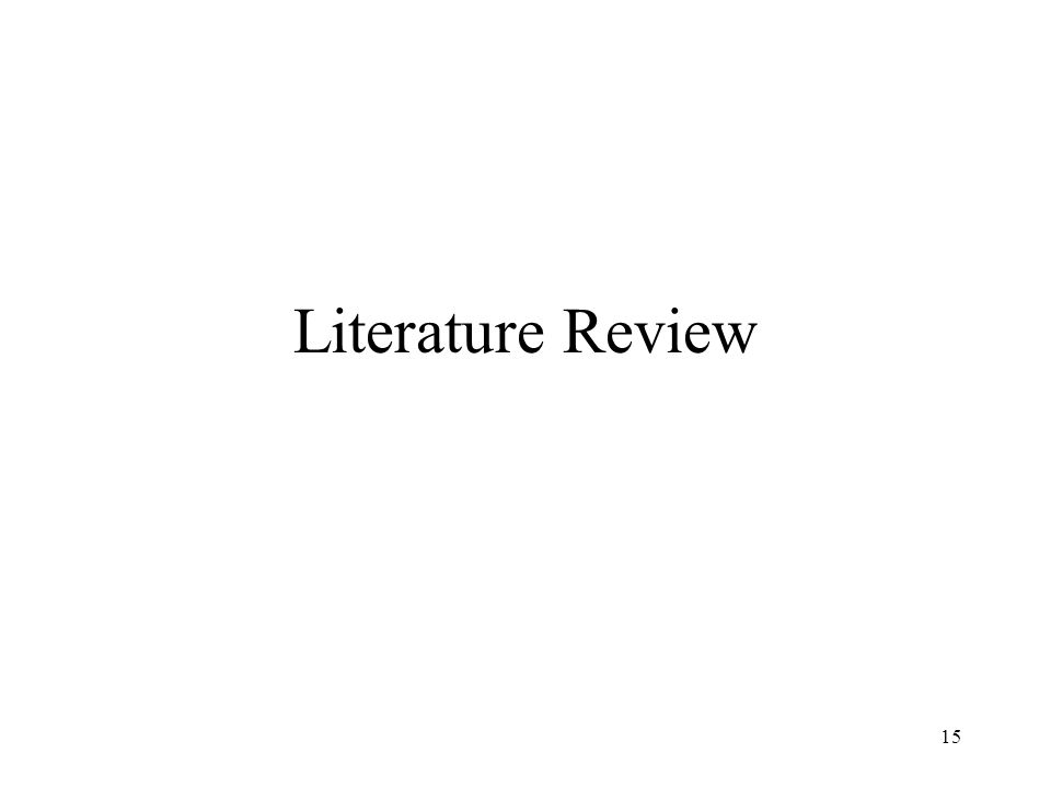 15 Literature Review