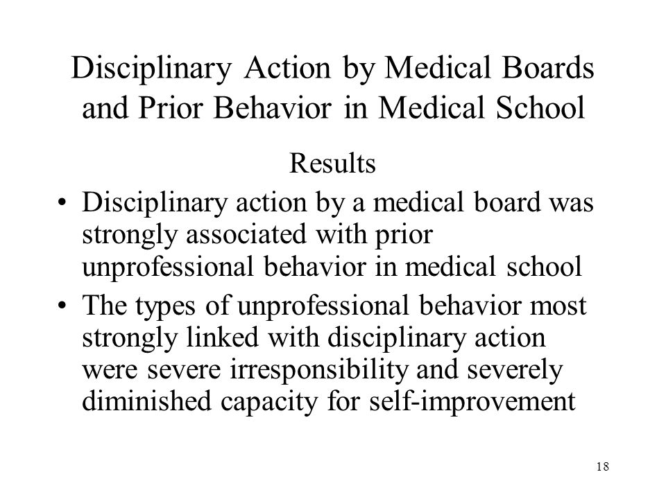18 Disciplinary Action by Medical Boards and Prior Behavior in Medical School Results Disciplinary action by a medical board was strongly associated with prior unprofessional behavior in medical school The types of unprofessional behavior most strongly linked with disciplinary action were severe irresponsibility and severely diminished capacity for self-improvement