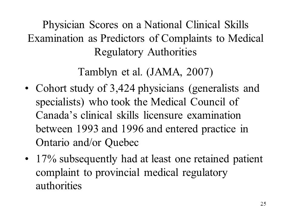 25 Physician Scores on a National Clinical Skills Examination as Predictors of Complaints to Medical Regulatory Authorities Tamblyn et al. (JAMA, 2007