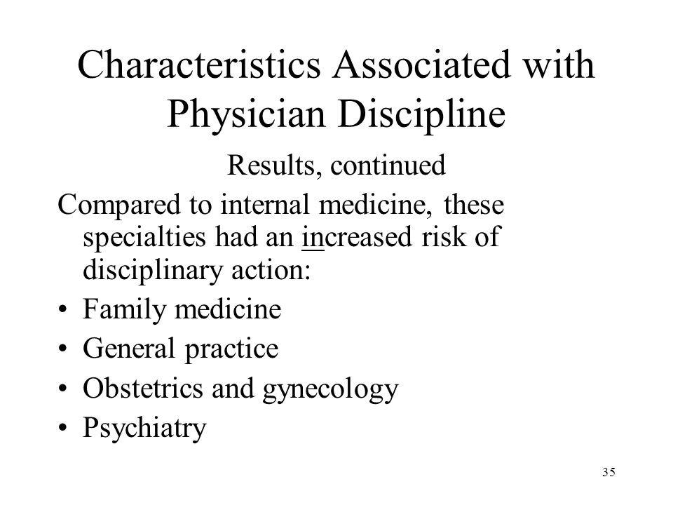 35 Characteristics Associated with Physician Discipline Results, continued Compared to internal medicine, these specialties had an increased risk of d