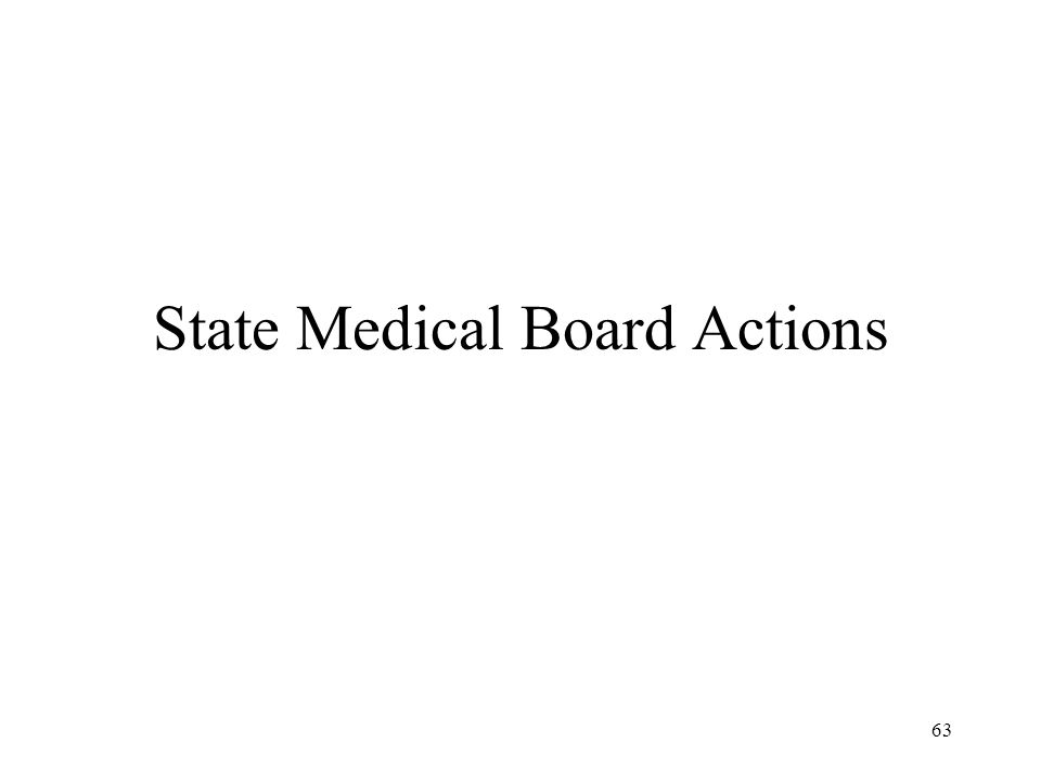 63 State Medical Board Actions