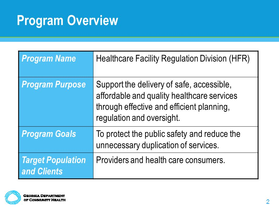 2 Program Overview Program Name Healthcare Facility Regulation Division (HFR) Program Purpose Support the delivery of safe, accessible, affordable and quality healthcare services through effective and efficient planning, regulation and oversight.