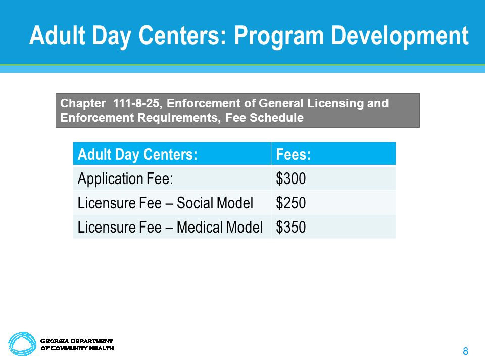 8 Adult Day Centers:Fees: Application Fee:$300 Licensure Fee – Social Model$250 Licensure Fee – Medical Model$350 Adult Day Centers: Program Development Chapter 111-8-25, Enforcement of General Licensing and Enforcement Requirements, Fee Schedule