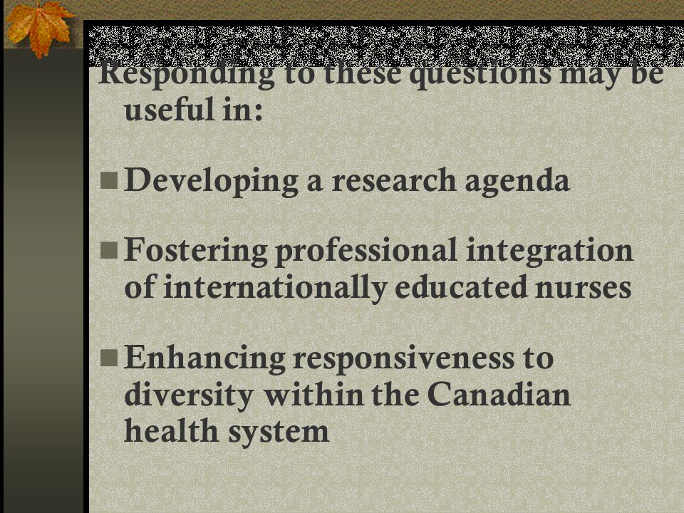 Responding to these questions may be useful in: Developing a research agenda Fostering professional integration of internationally educated nurses Enhancing responsiveness to diversity within the Canadian health system