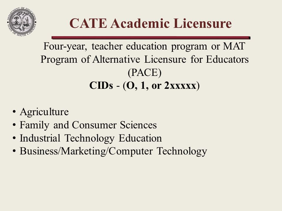 Work-Based Licensure CIDs - (9xxxxx) Office of Educator Services, Alternative Licensure