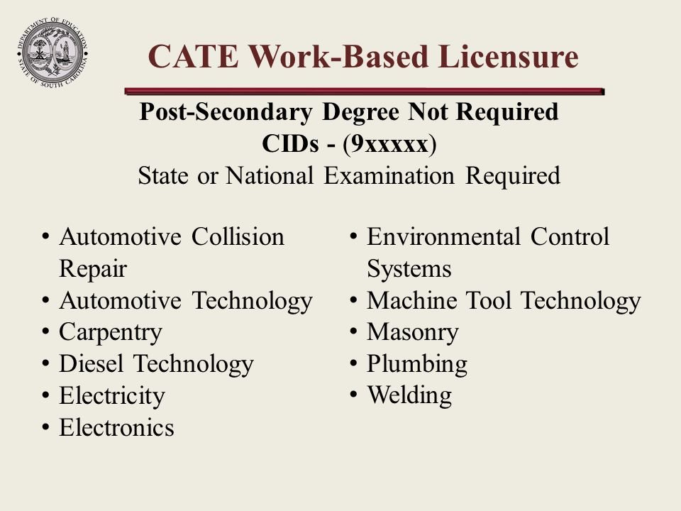 CATE Work-Based Licensure Automotive Collision Repair Automotive Technology Carpentry Diesel Technology Electricity Electronics Environmental Control Systems Machine Tool Technology Masonry Plumbing Welding Post-Secondary Degree Not Required CIDs - (9xxxxx) State or National Examination Required