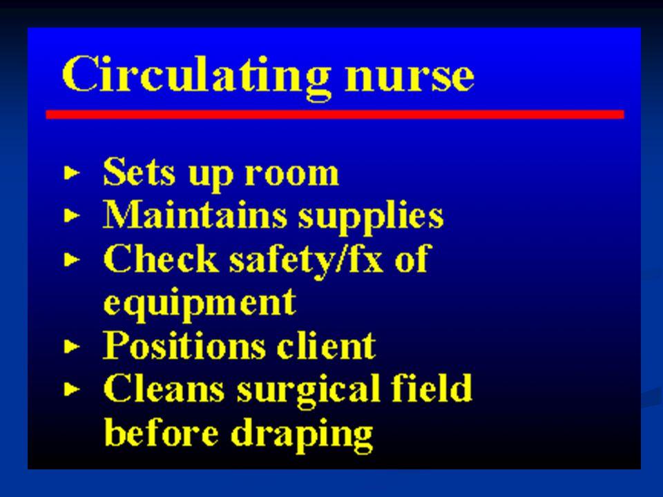 CIRCULATING NURSE :O) anesthesiologist.Assistant surgeon surgeon