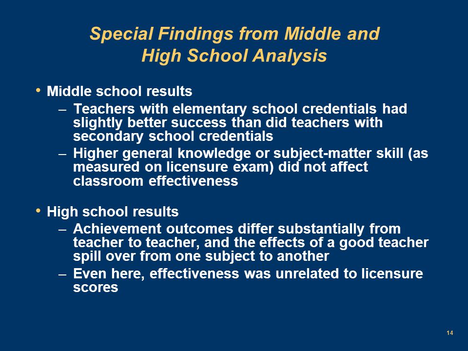 14 Special Findings from Middle and High School Analysis Middle school results –Teachers with elementary school credentials had slightly better success than did teachers with secondary school credentials –Higher general knowledge or subject-matter skill (as measured on licensure exam) did not affect classroom effectiveness High school results –Achievement outcomes differ substantially from teacher to teacher, and the effects of a good teacher spill over from one subject to another –Even here, effectiveness was unrelated to licensure scores