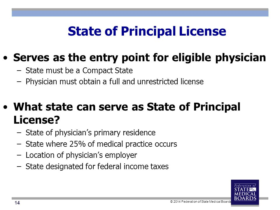 14 © 2014 Federation of State Medical Boards State of Principal License Serves as the entry point for eligible physician –State must be a Compact State –Physician must obtain a full and unrestricted license What state can serve as State of Principal License.