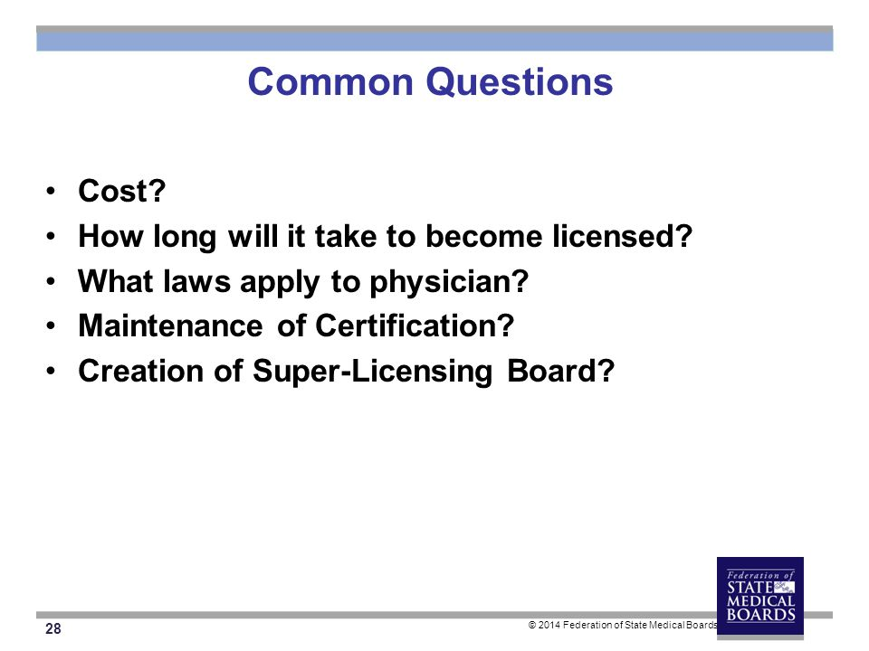 28 © 2014 Federation of State Medical Boards Common Questions Cost.