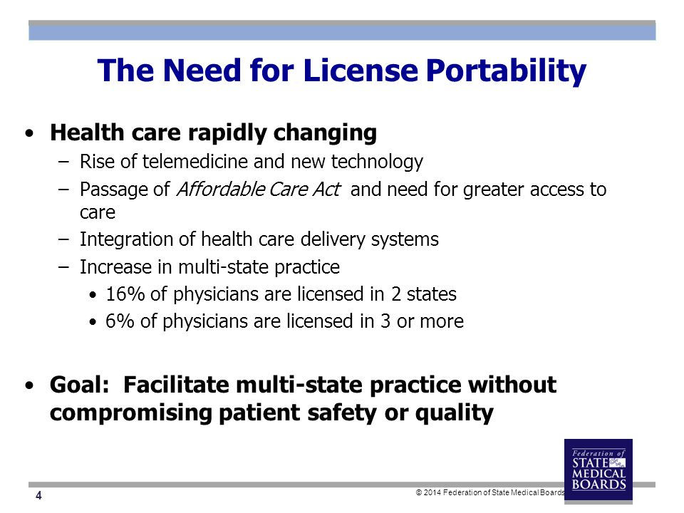 15 © 2014 Federation of State Medical Boards Proposed Interstate Compact Pathway Step 1 Eligible Physician is/becomes licensed in a Compact State (State of Principal License) Step 2 Eligible Physician applies for expedited licensure in other Compact states via State of Principal License State of Principal License verifies eligibility Step 3 State of Principal License sends attestation to an Interstate Commission Eligible physician transmits fees to Interstate Commission