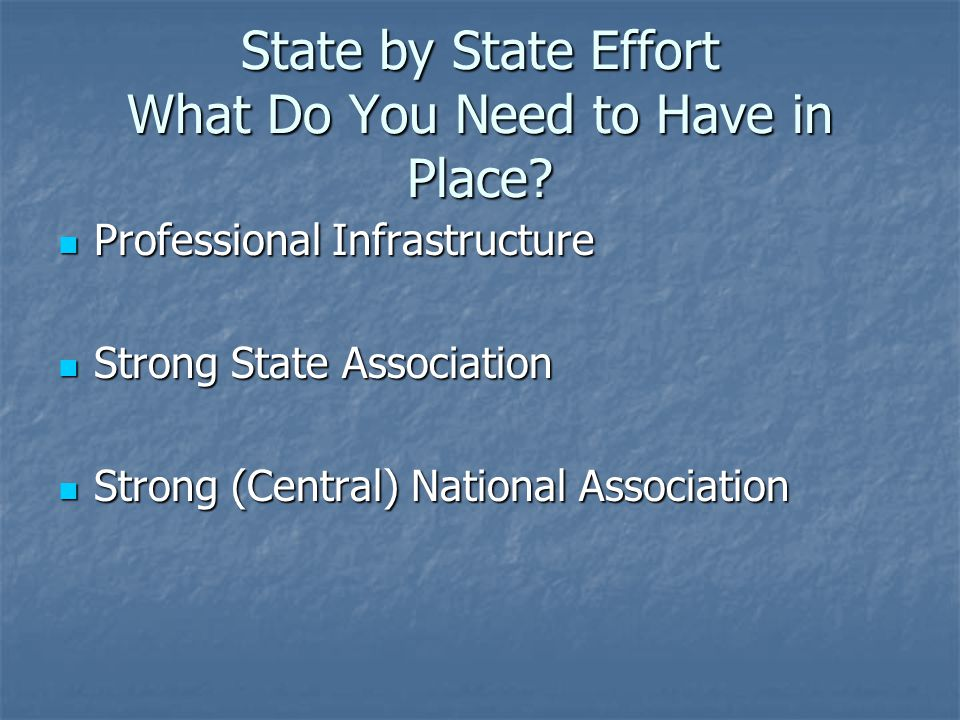 State by State Effort What Do You Need to Have in Place.