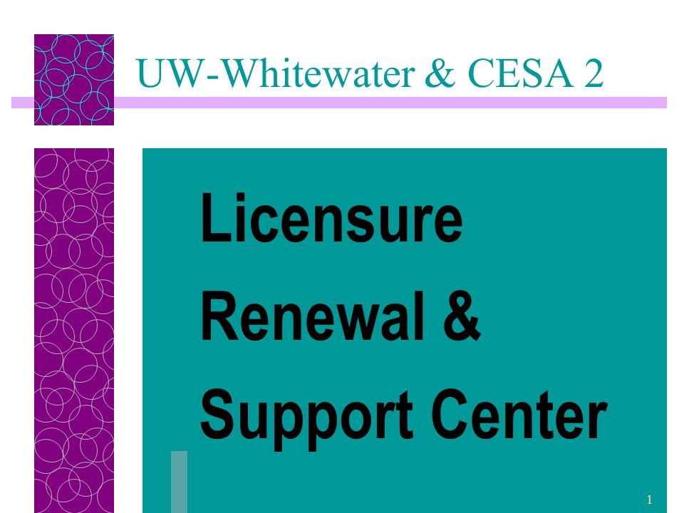 2 PI 34 Licensure Renewal Requirements After August 2004: Initial Educator (3-5 years, non- renewable) Professional Educator (5 years) Master Educator (voluntary 10-year renewable)