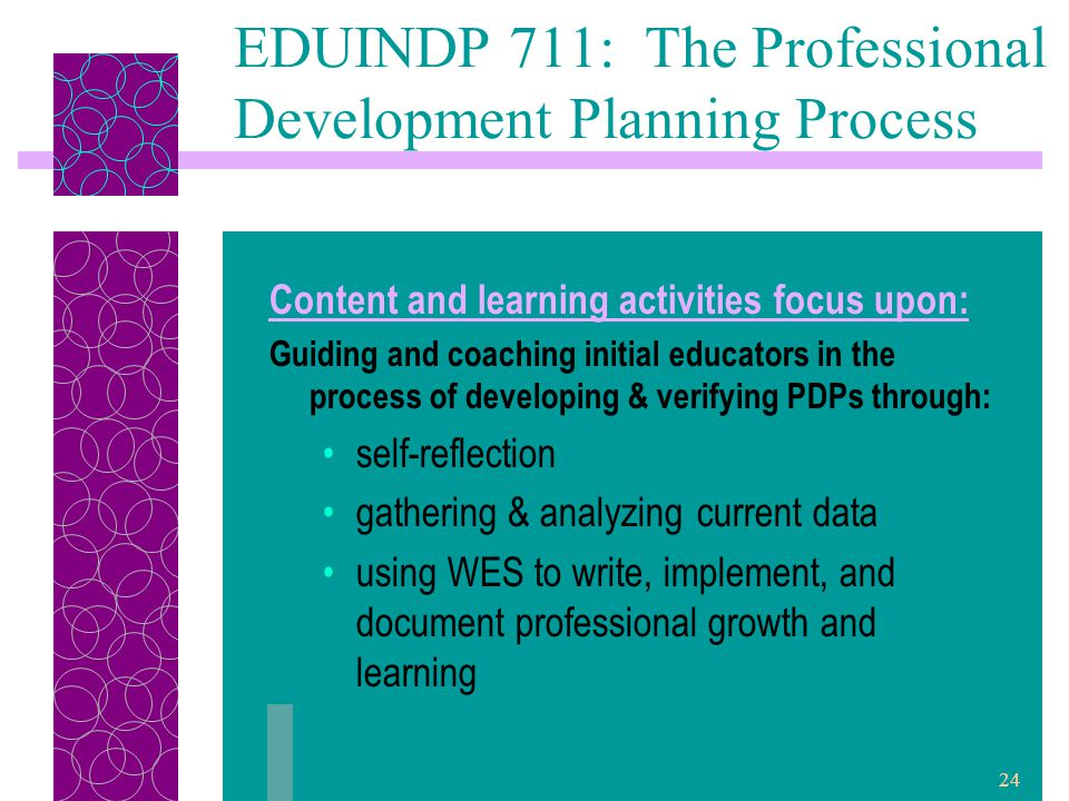24 EDUINDP 711: The Professional Development Planning Process Content and learning activities focus upon: Guiding and coaching initial educators in the process of developing & verifying PDPs through: self-reflection gathering & analyzing current data using WES to write, implement, and document professional growth and learning
