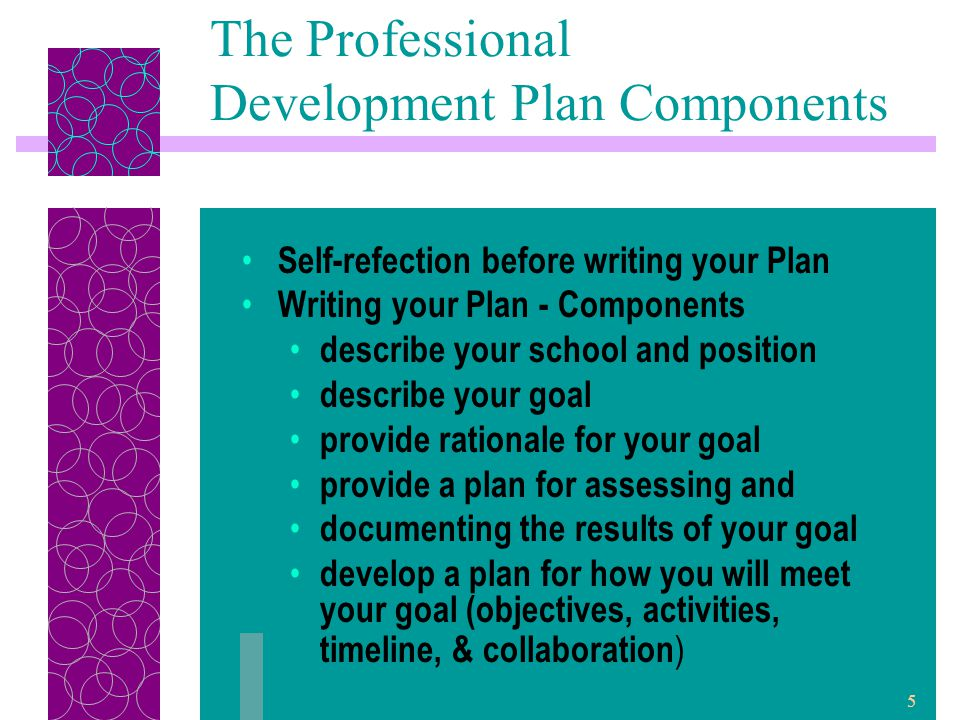 6 The Professional Development Plan Components Write annual review of your Plan Document the completion of your Plan include evidence illustrating results of the goal and impact on student learning.