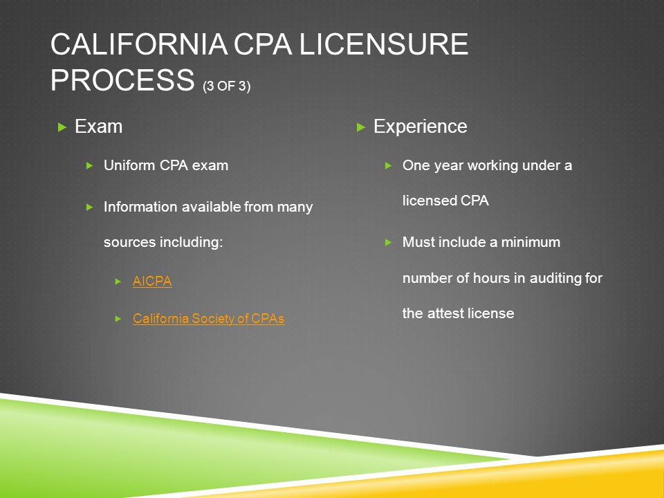 CALIFORNIA CPA LICENSURE PROCESS (3 OF 3)  Exam  Uniform CPA exam  Information available from many sources including:  AICPA AICPA  California So