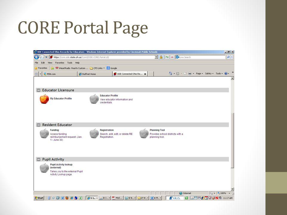 CORE Portal Page
