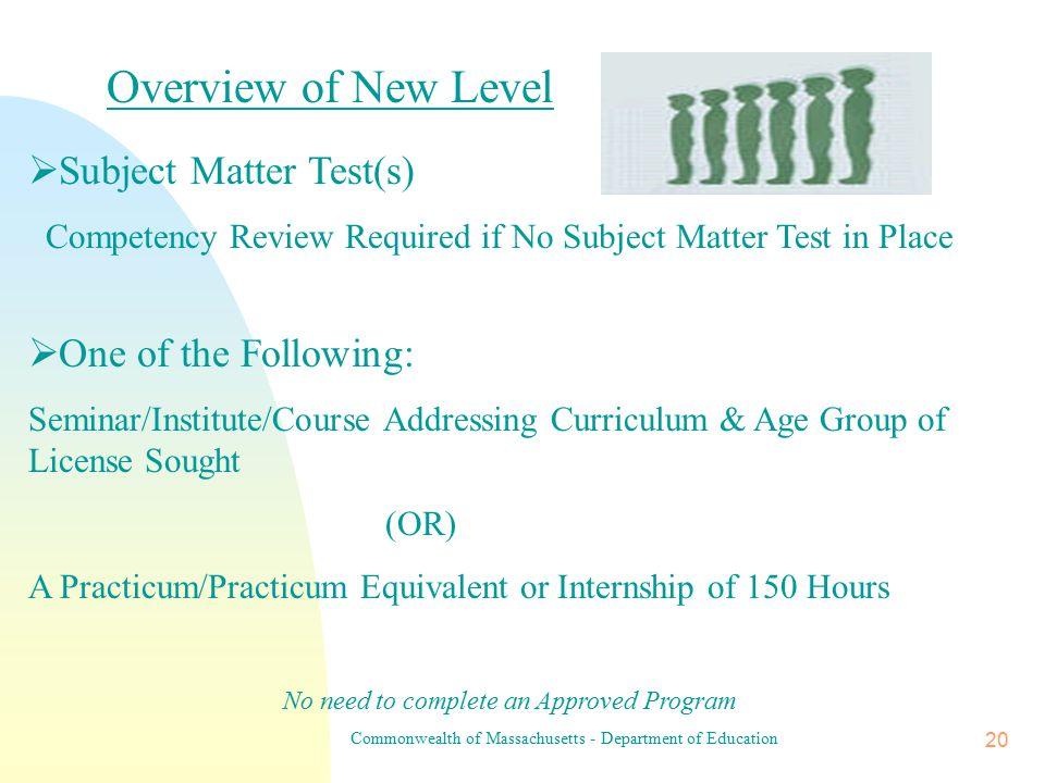 Commonwealth of Massachusetts - Department of Education 19 Additional Teacher Licenses 1.