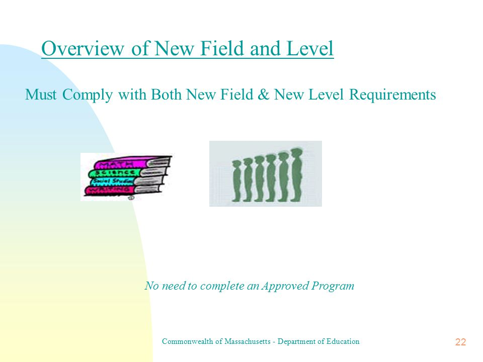 Commonwealth of Massachusetts - Department of Education 21 Overview of New Field  Subject Matter Test(s) Competency Review Required if No Subject Matter Test in Place Additional Requirements: A Practicum/Practicum Equivalent or Internship of 150 Hours Required for Early Childhood & Elementary Education A Practicum/Practicum Equivalent or Internship of 150 Hours & a Competency Review Required for Special Needs Licenses No need to complete an Approved Program