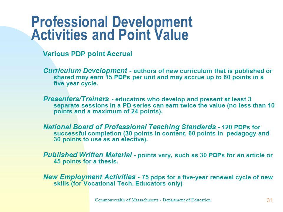 Commonwealth of Massachusetts - Department of Education 30 Prof.
