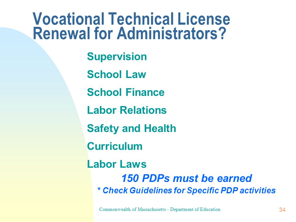 Commonwealth of Massachusetts - Department of Education 33 How does one allocate points for Vocational Technical Teacher License: Renewal Requirements I.