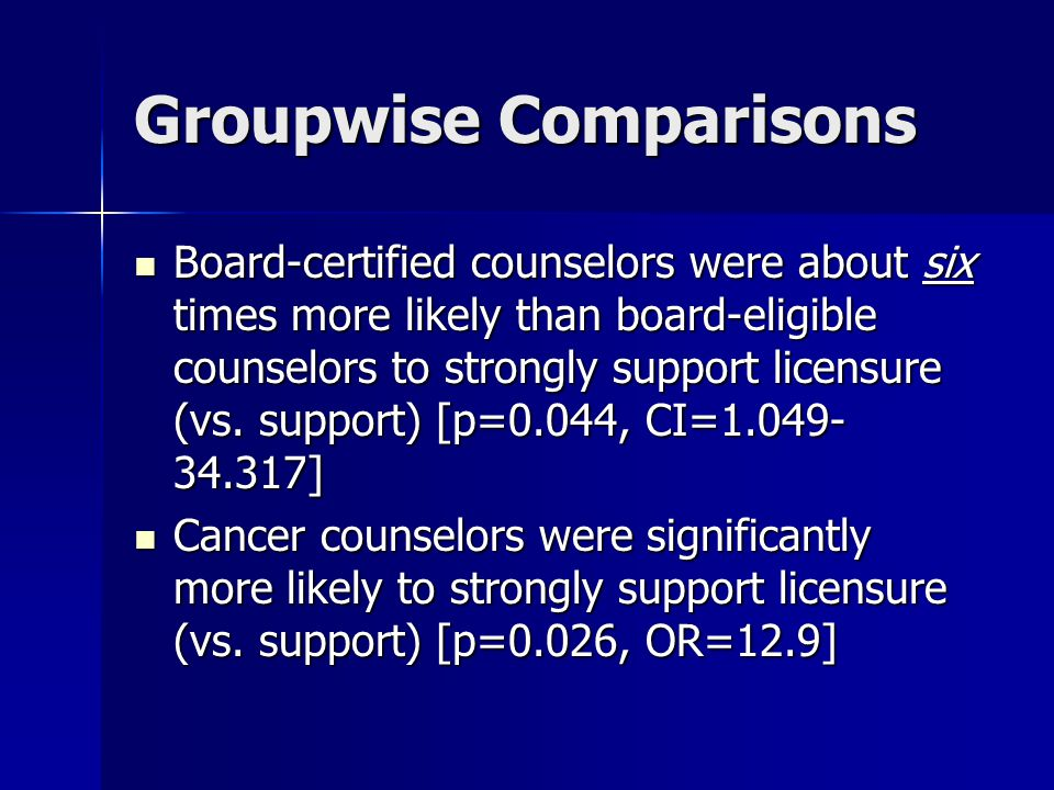 Groupwise Comparisons Board-certified counselors were about six times more likely than board-eligible counselors to strongly support licensure (vs.