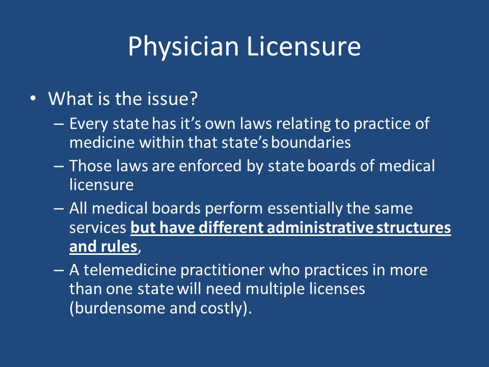 New CMS Rule On May 5, 2011 CMS published a rule (effective July 5, 2011) that allows a hospital to grant practice privileges to a telehealth provider by accepting the distant-site facility's credentialing and privileging approvals for that provider.
