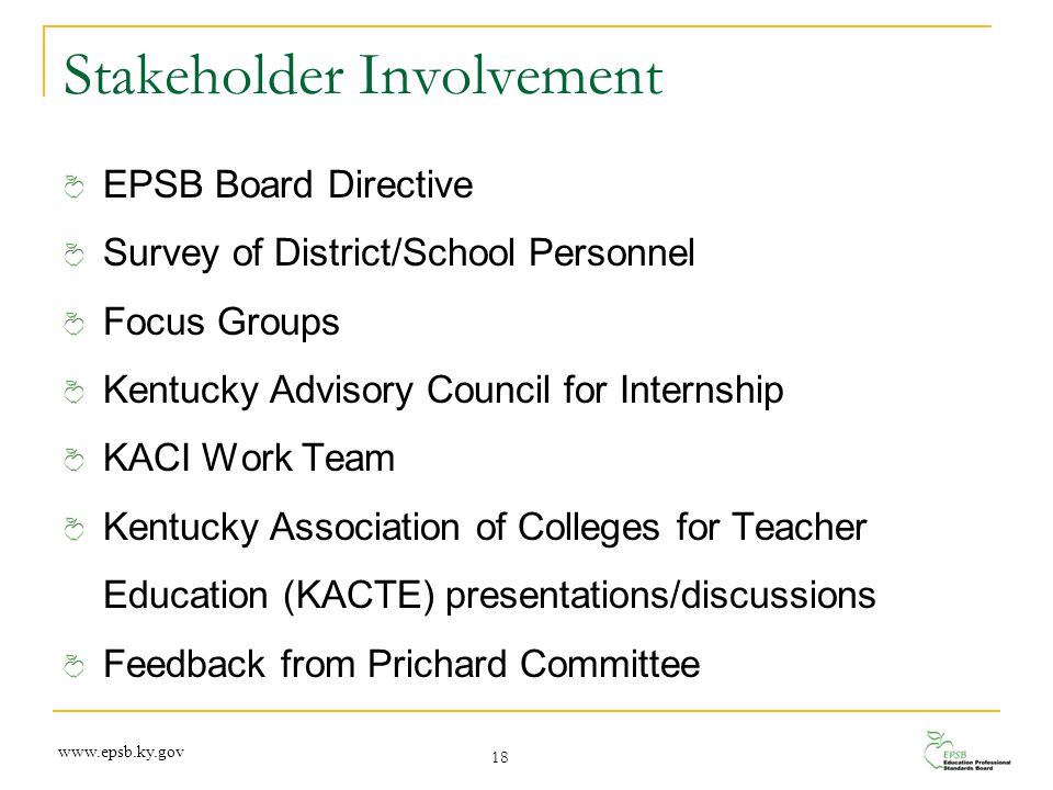 Stakeholder Involvement EPSB Board Directive Survey of District/School Personnel Focus Groups Kentucky Advisory Council for Internship KACI Work Team