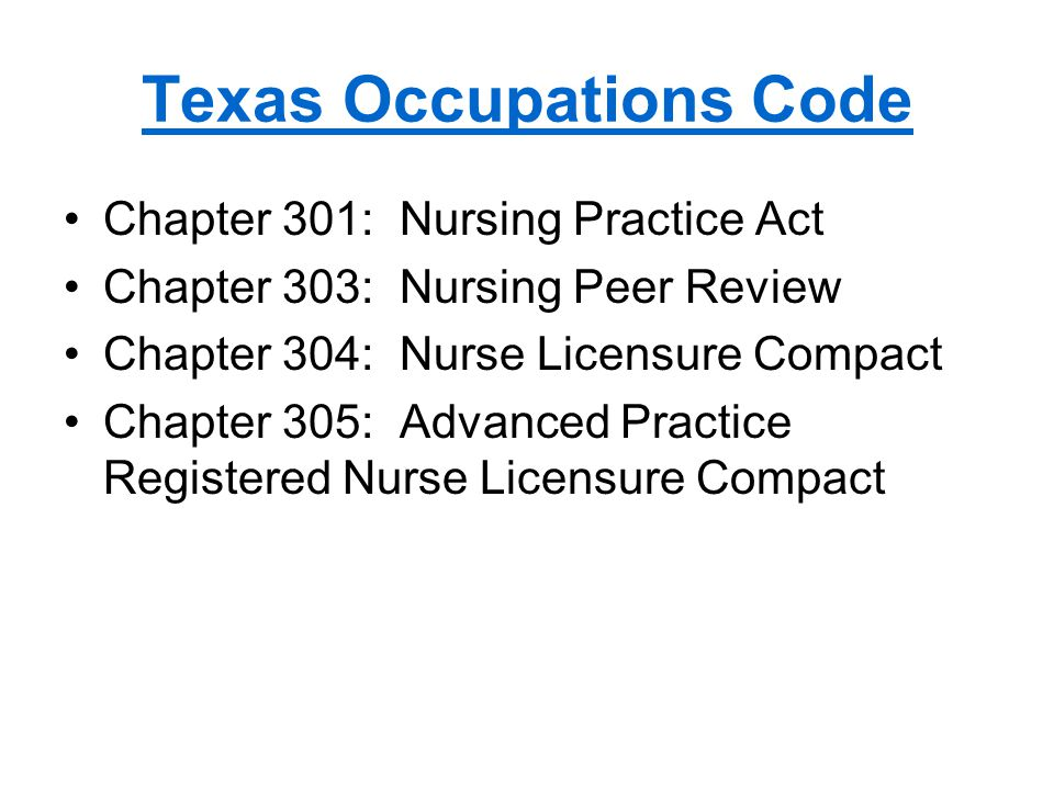 Texas Occupations Code Chapter 301: Nursing Practice Act Chapter 303: Nursing Peer Review Chapter 304: Nurse Licensure Compact Chapter 305: Advanced Practice Registered Nurse Licensure Compact