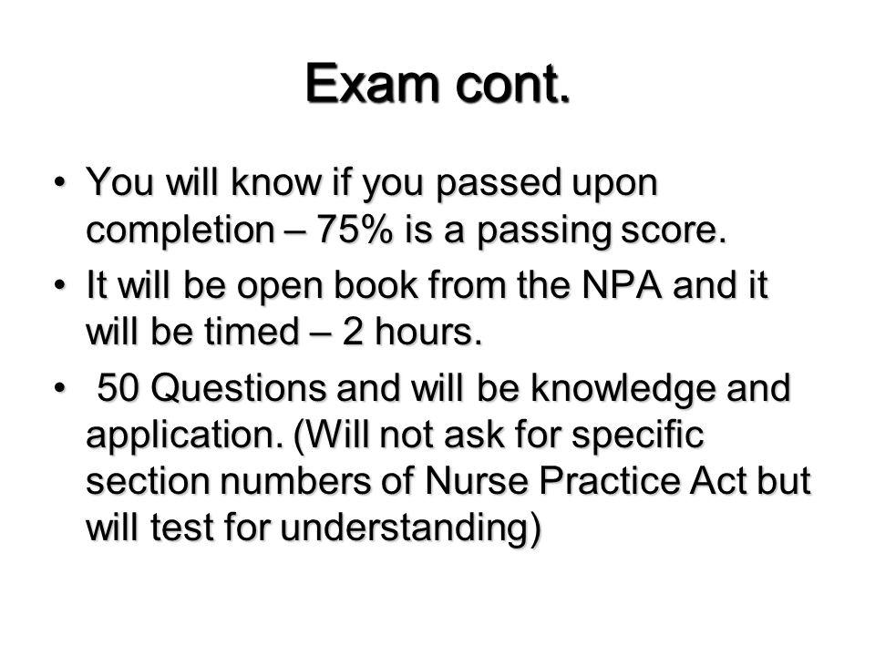 Exam cont.