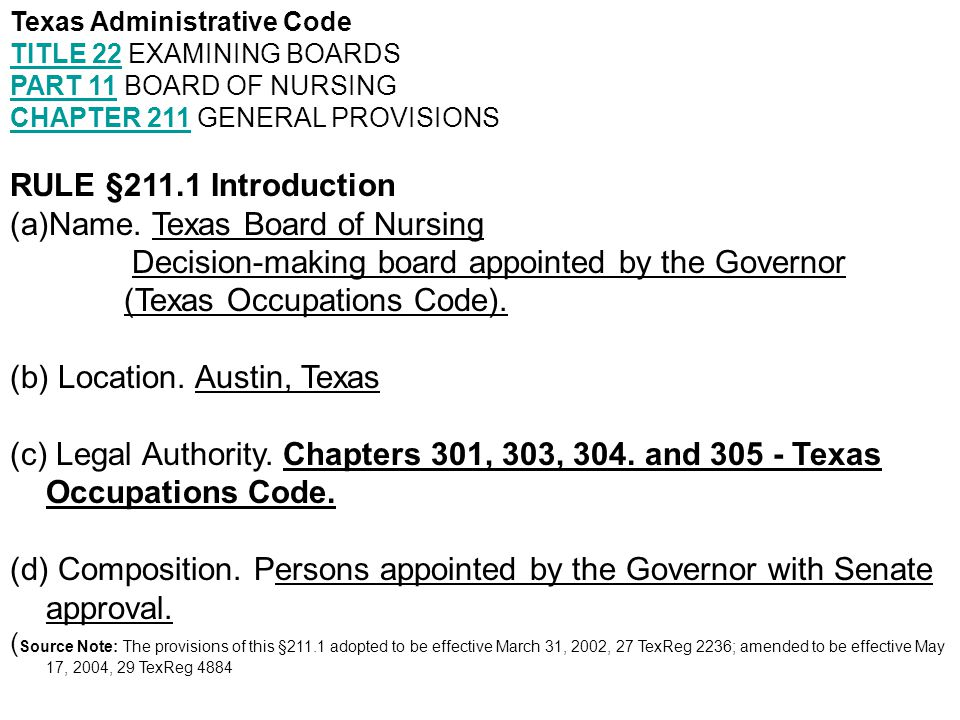 Texas Administrative Code Chapter 217 Rule 217.11- Standards of Nursing Practice in the state of Texas cont.