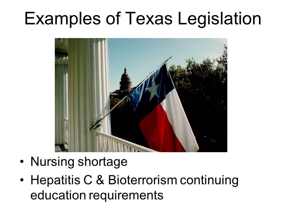 Examples of Texas Legislation Nursing shortage Hepatitis C & Bioterrorism continuing education requirements