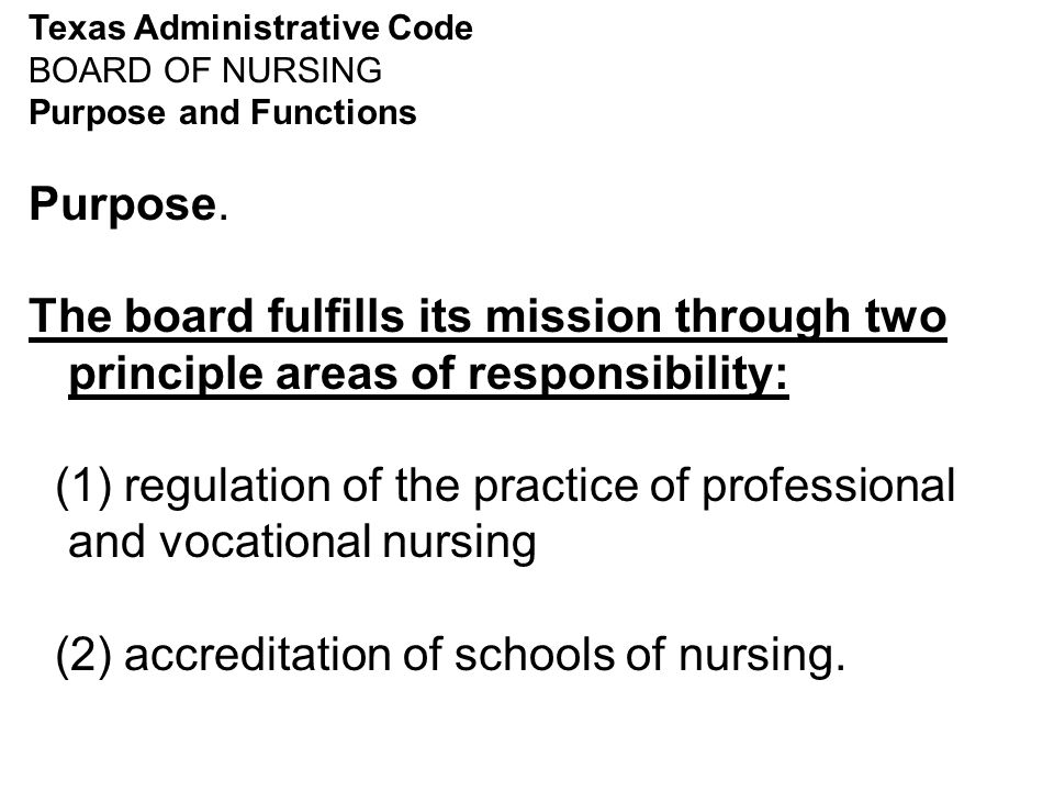 Texas Administrative Code - Functions of BOARD OF NURSING The board shall perform the following functions as outlined in Texas Occupations Code chapters 301, 303, 304, & 305.