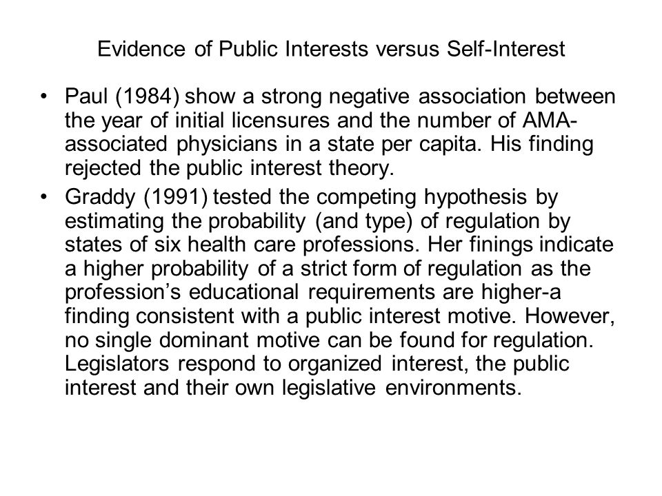 Evidence of Public Interests versus Self-Interest Paul (1984) show a strong negative association between the year of initial licensures and the number