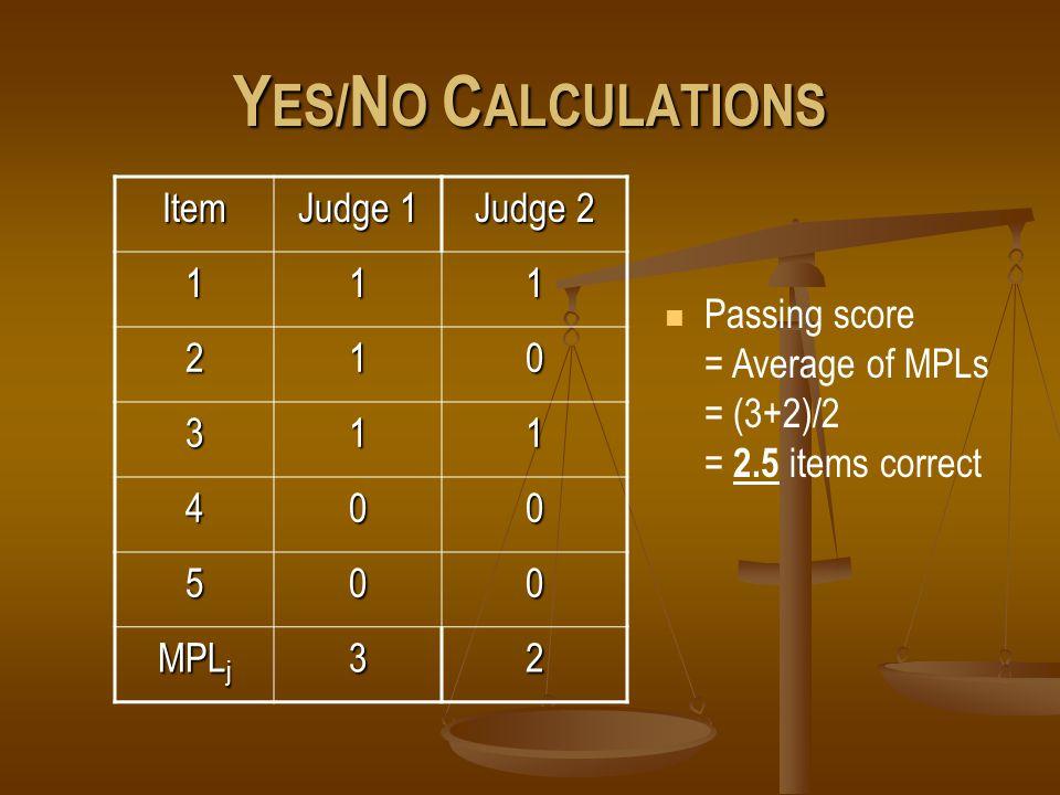 Y ES/ N O C ALCULATIONS Item Judge 1 Judge 2 111 210 311 400 500 MPL j 32 Passing score = Average of MPLs = (3+2)/2 = 2.5 items correct
