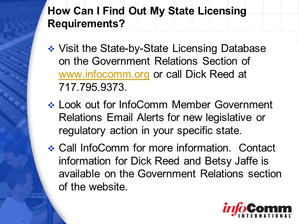 How Can I Find Out My State Licensing Requirements.