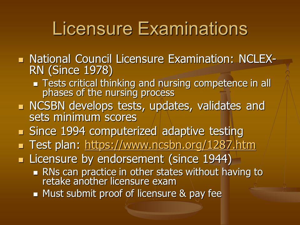 Licensure Examinations National Council Licensure Examination: NCLEX- RN (Since 1978) National Council Licensure Examination: NCLEX- RN (Since 1978) T
