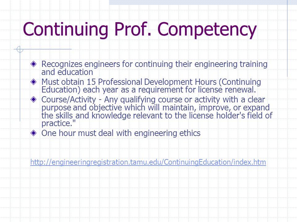 Continuing Prof.