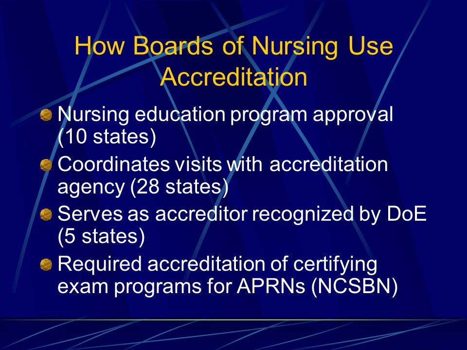 How Boards of Nursing Use Accreditation Nursing education program approval (10 states) Coordinates visits with accreditation agency (28 states) Serves as accreditor recognized by DoE (5 states) Required accreditation of certifying exam programs for APRNs (NCSBN)