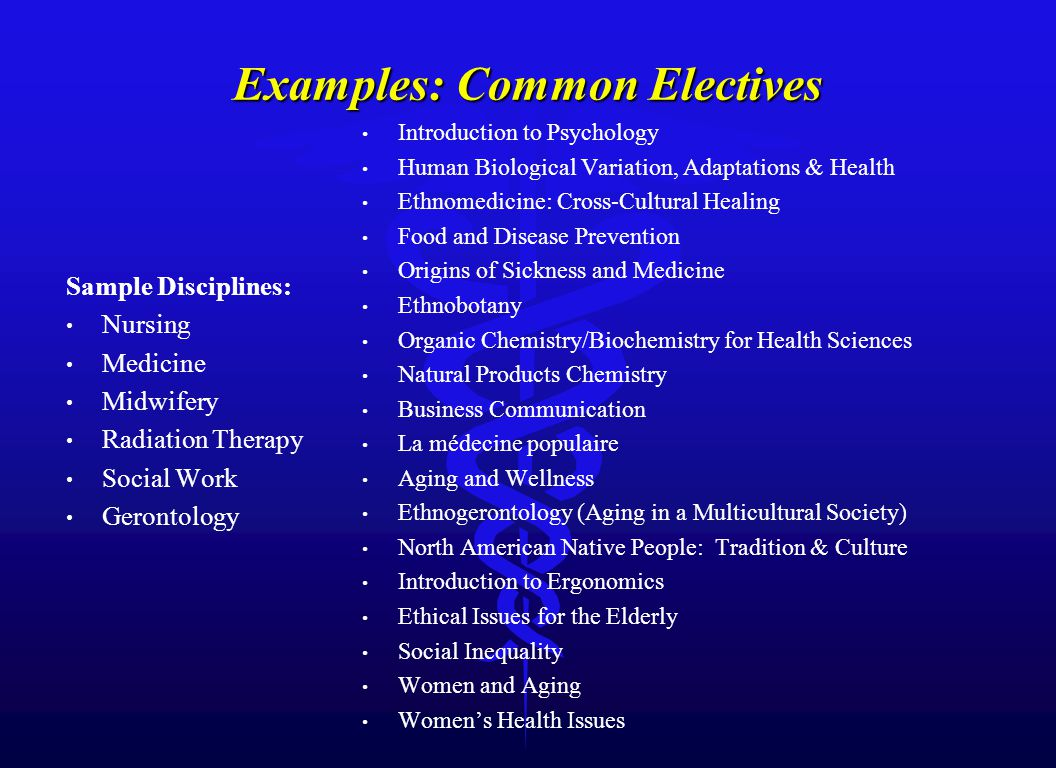 Examples: Common Electives Sample Disciplines: Nursing Medicine Midwifery Radiation Therapy Social Work Gerontology Introduction to Psychology Human Biological Variation, Adaptations & Health Ethnomedicine: Cross-Cultural Healing Food and Disease Prevention Origins of Sickness and Medicine Ethnobotany Organic Chemistry/Biochemistry for Health Sciences Natural Products Chemistry Business Communication La médecine populaire Aging and Wellness Ethnogerontology (Aging in a Multicultural Society) North American Native People: Tradition & Culture Introduction to Ergonomics Ethical Issues for the Elderly Social Inequality Women and Aging Women's Health Issues