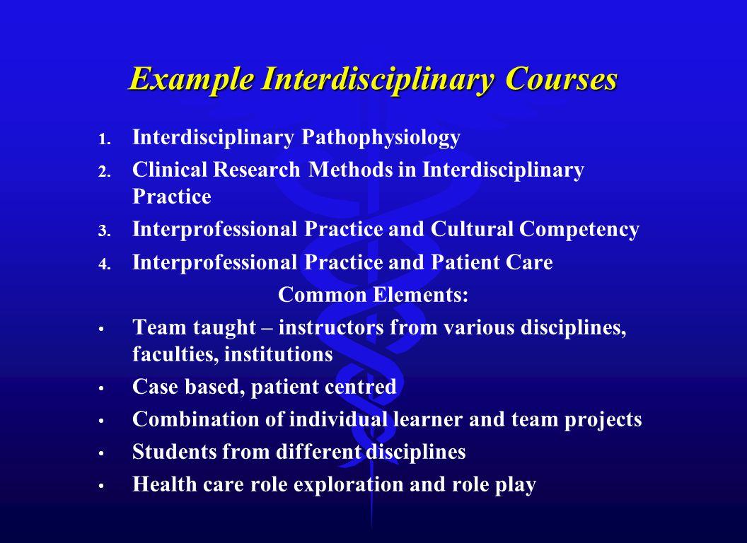 Example Interdisciplinary Courses 1. Interdisciplinary Pathophysiology 2. Clinical Research Methods in Interdisciplinary Practice 3. Interprofessional