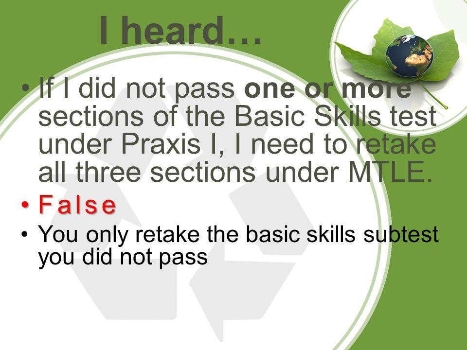I passed all three Basic Skills Tests under Praxis.